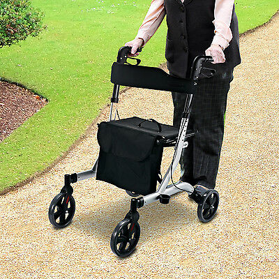 Rollator 4 Wheel Walker Disability Aid Mobility Seat Handle Foldable Lightweight