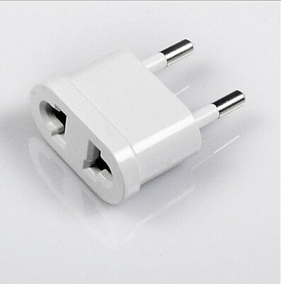 2X Universal Power Plug Adapter Converter White Travel Charger Wall AC EU to US