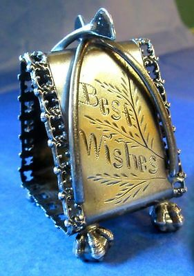 Meriden Britannia Co Antique American Figural SP WISHBONE Napkin Ring ca.1850-70