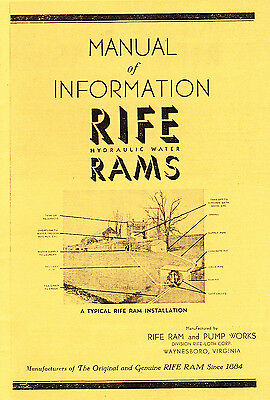 New reprint 1950s RIFE Hydraulic WATER RAMS Instructions