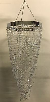 Clear Acrylic Beaded Cascading Chandelier Lamp Shade  Dia 26 x H60cm