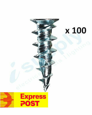 100 x Plaster Wall Anchor Speed Plugs Zinc Diecast V Type Wall-Mates