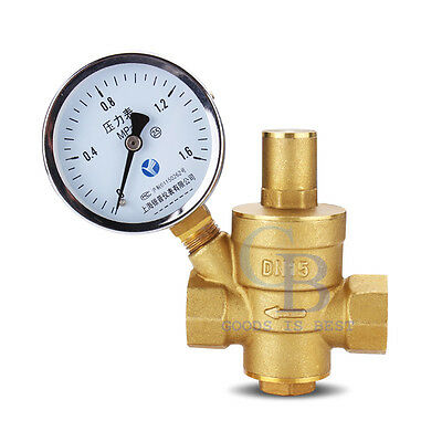 1/2''DN15 Bspp Brass Water Pressure Reducing Valve With Gauge Flow Adjustable