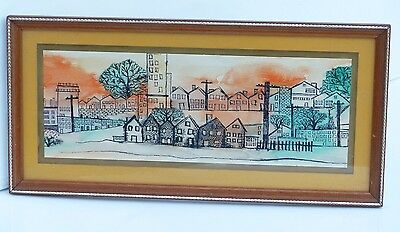 S Zambito un-signed Vintage Mid Century Ink & Watercolor City Drawing-Painting
