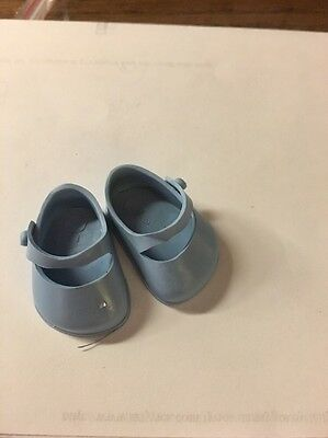 50's Vogue Ginnette Blue shoes plastic Mary Janes labeled Ginnette flat bottom