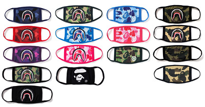 USA SELLER A Bathing Ape Bape Face Mask ABC Camo Shark Mouth Muffle