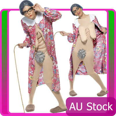 Adult Gravity Granny Costume Unisex Comical Comedy Funny Fancy Dress Hens Stag