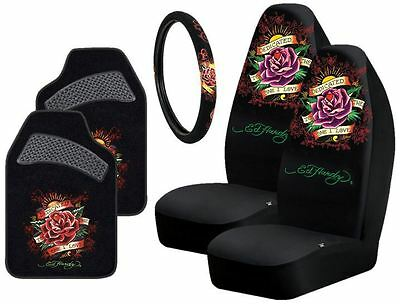 Ed Hardy Dedicated To The One I Love 5-Pc Seat Covers Floor Mats Steering Cover