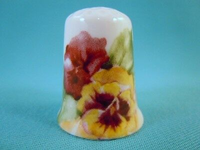 Thimble Bone China with Pansy Flowers