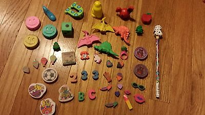 Vintage Eraser Lot, Vintage School Supplies, 80s, 90s, Animals Holiday, Bundle
