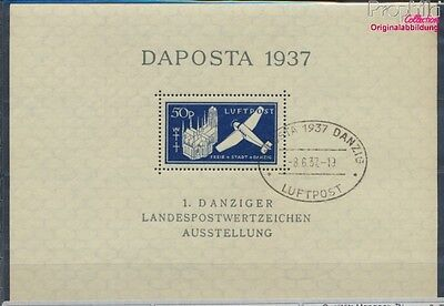 Gdansk block2b first-day stamp fine used / cancelled 1937 DAPOSTA (7783699