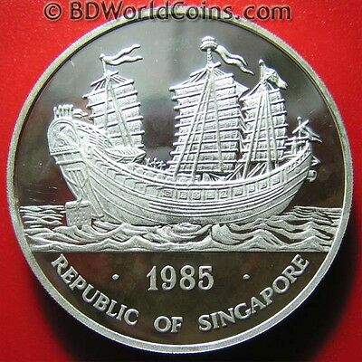 1985 SINGAPORE OUNCE 1oz SILVER PROOF DOUBLE DRAGON KEYING JUNK SHIP RARE M=2000