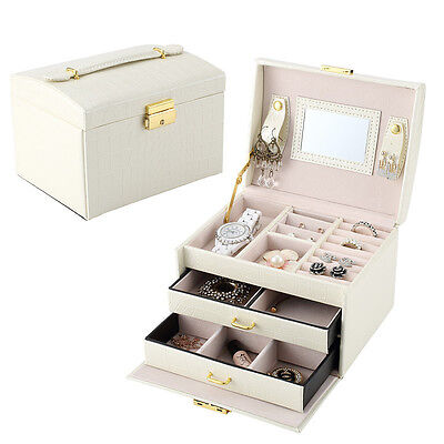 Large Jewelry Box Vintage Gift Case Necklace Bracelet Storage Organizer Armoire