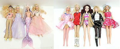 Mixed Lot of 9 BARBIE Dolls w/ Clothes as Pictured