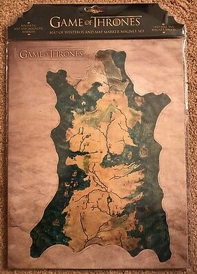 Game of Thrones: Map of Westeros and Map Marker Magnet Set Nerd Block Exclusive