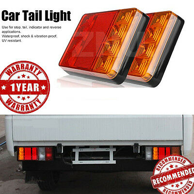 Waterproof 8LED Red Yellow Rear Tail Light for Car Trailer Truck Boat LED 2PEICE