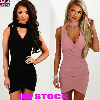 UK Womens Bodycon Choker V Neck Party Dress Ladies Summer Sleeveless Mini Dress