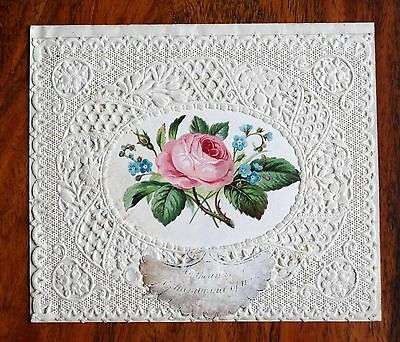 Fine Victorian Lace Paper Greetings Card Rose Remembrance Fold Open Unused