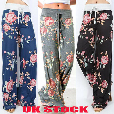 Uk Ladies Summer Wide Leg Loose Trousers Floral Printed Palazzo Womens Pants