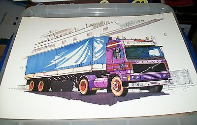 Volvo F12 Articulated  Truck Coloured Poster Drawing Official Volvo Issue