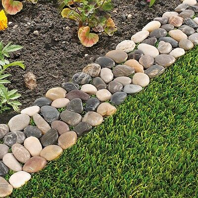 Pack of 8 Garden Flower Bed Edging Strip Pebble Stone Borders (Paths, Driveways)