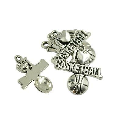 30pcs Silver I Love Basketball Charm for Bracelet Necklace Jewelry Heart