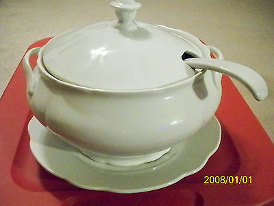 SOUP TUREEN, similar to Vintage Sears Harmony House Federalist White Ironstone