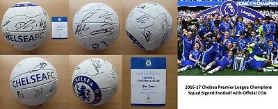 2016-17 Chelsea Champions Squad Signed Football with Official COA (11067)