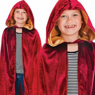 Kids Boys Girls Red Burgundy Riding Hood Halloween Fancy Dress Hooded Cloak Cape