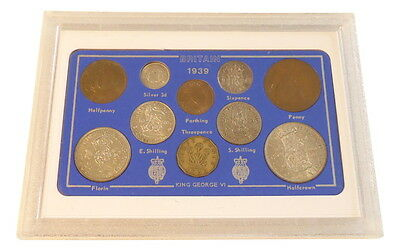 1939 GB Britain Coin Set 10 coins KGVI