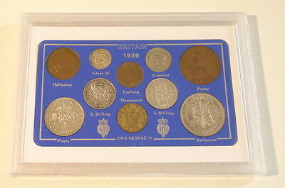 1939 GB Britain Coin Set 10 coins KGVI (a)