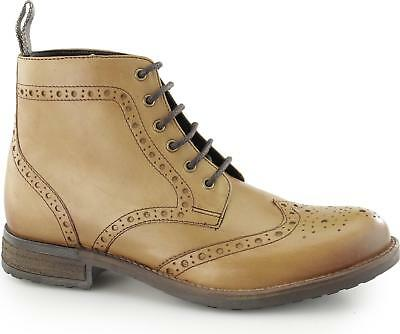 7a8c473302114 Catesby Shoemakers ROXTON Mens Leather Casual Lace Up Brogue Derby Boots Tan
