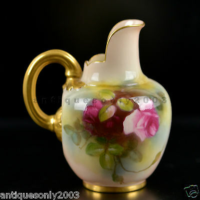 Antique ROYAL WORCESTER Rose Hand Painted English Porcelain Jug in Hadley Style