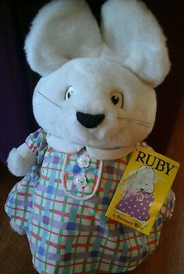 """MAX and & RUBY Plush Stuffed Animal 1998 Rosemary Wells 9"""" tall Vintage Eden Nwt"""