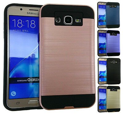 for Samsung Galaxy J7 - Brushed Texture Hybrid Shock Proof Armor Cover Case