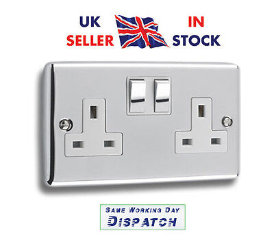 5x Polished Chrome DoubleTwin Plug Socket Switched 2 Gang 13amp  DP