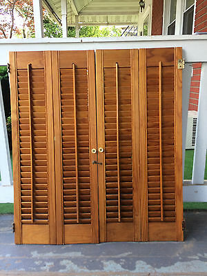 "Set  Vintage  Interior Wooden  Louvered Shutters 32"" X 28""  (E)"