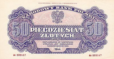 50 Zlotych from Poland 1944 Emission  1974 Unc