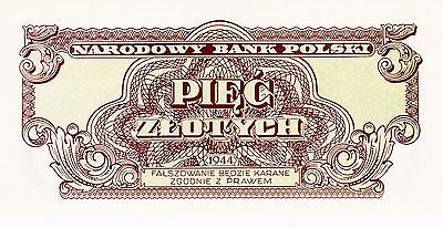5 Zlotych From Poland 1944 Emission 1974 Unc