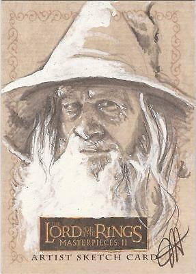 """Lord of the Rings Masterpieces II - RARE Jess Hickman """"Gandalf"""" Sketch Card"""
