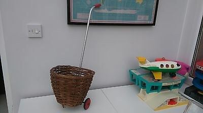 Vintage childs wicker shopping trolley basket on wheels pull along toy 1960s fab