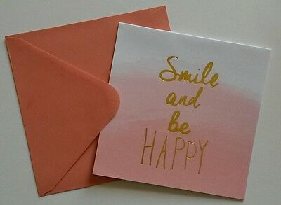 Set of 6 Blank Square Notecards & Envelopes Greeting ~ Smile and Be Happy Melon