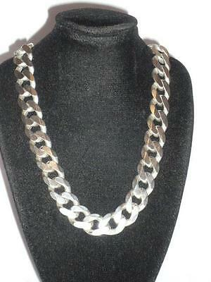 "Heavy Chunky Sterling Silver Gents Mens Curb Link Necklace Chain  20"" 96G 925"