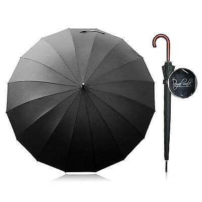 Large Umbrella Golf Black Auto Open Double Size Big Classic Wooden Handle