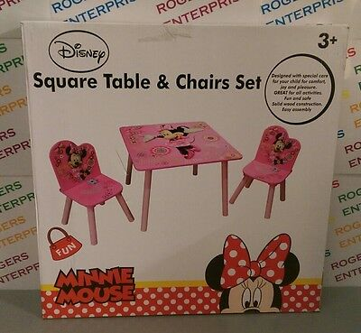 Disney Minnie Mouse Pink Child's Square Wooden Table & 2 Chairs Set NEW & Boxed