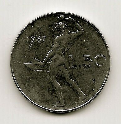 World Coins - Italy 50 Lire 1967 Coin KM# 95.1