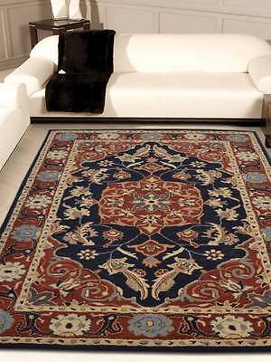 Hand Tufted Wool Navy Blue/Red Classic 5x8 Tabriz Agra Persian Oriental Area Rug