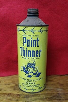 Vintage Paint Thinner Mineral Spirits Penn Oil Company Quart Empty Can