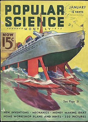 POPULAR SCIENCE 01/1936-PULP STYLE COVER-9 X 12-good/vg