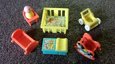 Fisher price little people vintage nursery set with baby 1970s